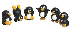 6 x mini Penguin Christmas Cake Decorations yule log cupcake toppers
