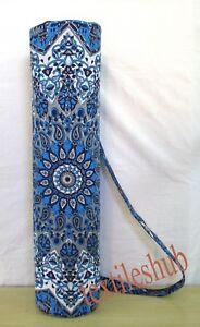 Blue Yoga Mat Carrier Gym Bag With Mandala Shoulder Strap Beach Bags Indian New'