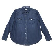 Universal Thread Denim Shirt Mens Sz L Large Blue Long Sleeve Snap Button Front