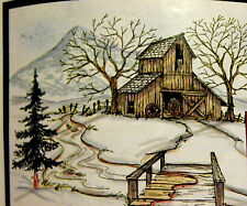 Art Impressions Fir Tree Water Color U get photo #2 RETIRED L@@K RUBBER STAMPS