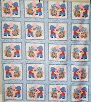 """Vintage Sunbonnet Sue Cotton Fabric Cheater Quilt Calico Patchwork 60"""" L X 52"""" W"""