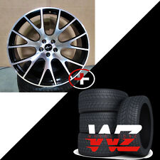 "22"" Hellcat Style Rims w Tires Black Machined Fits Dodge Ram 1500 Durango Dakota"