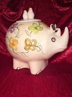 Old Vintage 1960s Ceramic Rhinoceros Rhino Birds Flowers Bugs Animal Cookie Jar