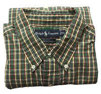Men's Ralph Lauren Blake Green Red Yellow Plaid Long Sleeve Button Up Shirt XL