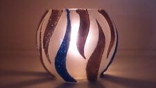 Candles Holders blue and gold glitter Glass Vase Hand Painted Gift Light