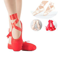 Cute Girls Ballet Pointe Dance Shoes Satin Ballerina Flat Dancewear with Ribbon