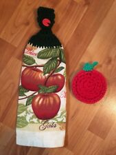 Crochet Top Double Kitchen Towel & Scrubbies - Apple Theme Towel &Apple Scrubbie