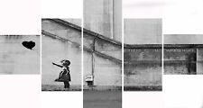 Extra Large Five Piece Set Banksy Black Balloon Hope Graffiti Canvas Picture