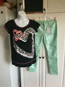 New Girls Justice Pants size 141/2 Super Skinny Jeans Simply Low with Shirt
