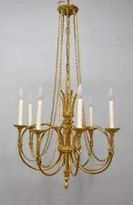 French Style Trumpet Form Eight Arm Chandelier with Draped Chain Details