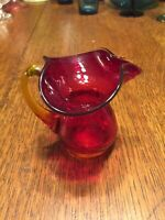1960's Vintage Mini Red With Applied Handle crackle glass creamer/pitcher