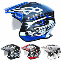 Wulfsport Vista Trials Helmet Open Face With Drop Down Visor MX Quad ATV
