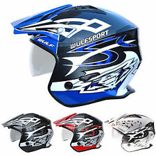 Wulfsport Tri Action Fibreglass Adult Open Face Motorbike Helmet Blue Small