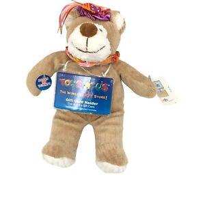 "Animal Alley Toys R Us Happy Birthday Bear 9"" Plush Tan Orange Purple"
