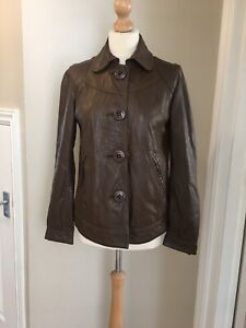 Ladies OAKWOOD blue Label Leather Jacket/coat,brown,size Small,Good Condition