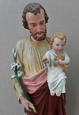 ANCIENNE STATUE RELIGIEUSE/SAINT JOSEPH ET JESUS/PLATRE PEINT/FIN XIXéme/ H.70cm