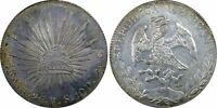 PCGS Mexico 1896 8 Reales Go RS Guanajuato Mint Silver Coin Nice Toned AU53