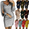 Sexy Womens Fashion V-Neck Sequins Glitter Tassels Bodycon Cocktail Party Dress
