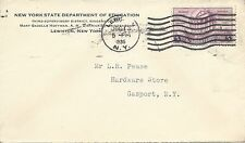 U.S. - LEWISTON, N.Y. WAVE CANCEL ON 1936 NYS DEPT. OF EDUCATION COVER