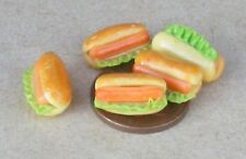 1:12 Scale 5 Jumbo Hot Dogs Dolls House Miniature Kitchen Snack Food Accessory