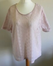 Next Size 20 Ladies Short Sleeve Pink T Shirt Top With Floral Print