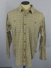 Patagonia Organic Cotton Button Front Shirt Plaids Checks Tan Brown Green Size L
