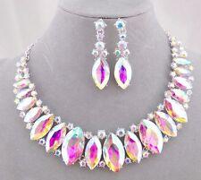 Silver With AB Rhinestone Necklace Set Statement Fashion Jewelry NEW