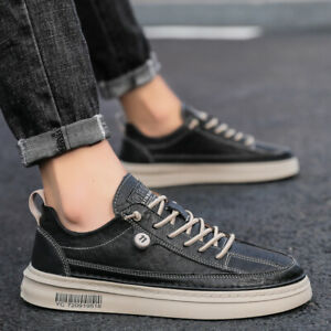 Mens Black Round Toe Lace Up Sports Flats Casual Comfy Driving Board Shoes Size