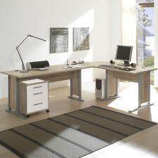 Schreibtisch Office Line Büro Winkelschreibtisch Rollcontainer Sonoma Eiche weiß