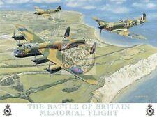 Battle of Britain Spitfire Aeroplane Lancaster Bomber RAF Medium Metal/Tin Sign