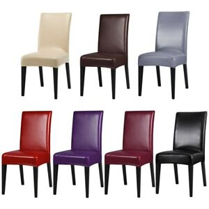 Waterproof PU Leather Stretch Dining Room Chair Cover Wedding Banquet Seat Cover