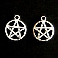 10 20 or 50 Antique Silver Tibetan 20mm Pentacle Pentagram Wicca Charm Pendant