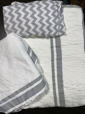 Pottery Barn Kids Harper Crib Set W/ Quilt, Sheet And Crib Skirt Gray White EUC