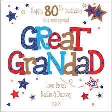 Personalised birthday card great grandad 70th 80th 90th any name/message/age