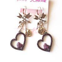 New Betsey Johnson Arrow Heart Drop Earrings Gift Fashion Women Party Jewelry
