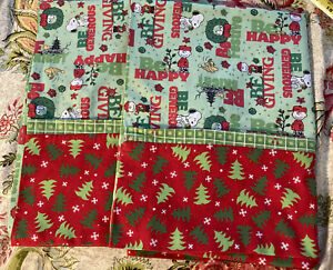 2 Snoopy Peanuts Christmas Green Red Pillowcases Standard