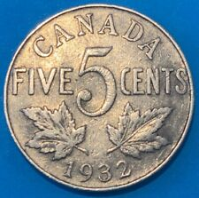 1932 Canada 5 Cent - George V Maple Leaves Coin