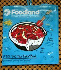 "Foodland Eco Poke Bowl Blue Reusable Grocery Bag Tote NWT 13"" X 12 1/2"""