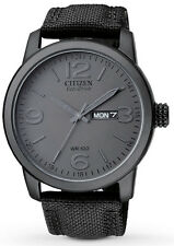 Citizen BM8475-00F Men's Eco Drive Military Black Out Fabric Band Day Date Watch
