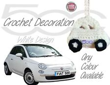 Handmade Crochet Fiat 500 Mirror Hanging Car Decoration Accessories - White