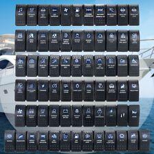 Waterproof Rocker Switch ON-OFF Dual Blue LED Bar 12V 24V Boat Car Marine Dash