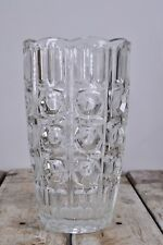 Stunning Heavy Vintage Retro Textured Clear Glass Flower Vase