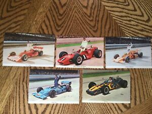 NICE LOT OF 5 INDIANAPOLIS 500 DECKLE EDGE POSTCARDS Foyt, Andretti, Unsers 70's