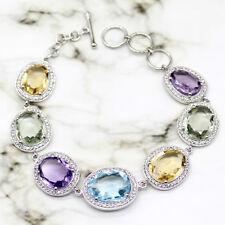 925 Sterling Silver Natural Multi Gem Stone Fine Statement Bracelets 30.80 CT