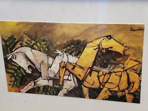 """Two Framed Prints Wall Decoration 5"""" x 8"""" Horses in action"""