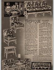 1954 PAPER AD 2 PG Tropique Colorful Rattan Furniture Sofa Chair Bar Tables