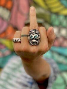Skull Ring King Tony Creed TC Silver INDIAN CHIEF Harley Native Biker Art USA