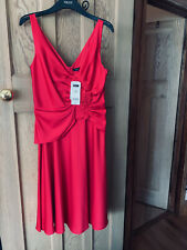 BNWT Next Red Satin Christmas Party Dress Lined Sizes 10 and 12 Semi Peplum