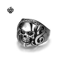 Silver bikies ring stainless steel crystal skull band soft gothic punk