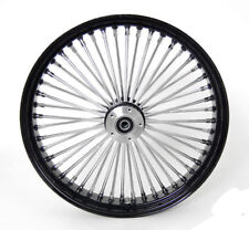 "21"" x 3.5"" BLACK FRONT WIDE GLIDE WHEEL MAMMOTH 48 FAT SPOKES DUAL DISC  HARLEY"